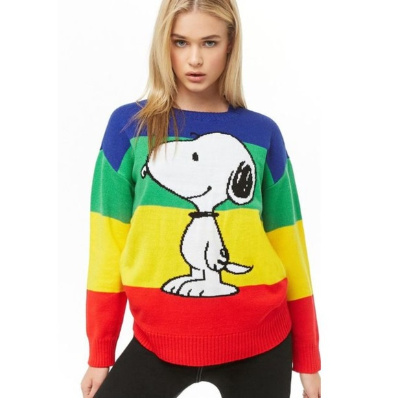 b02a28cd4db63e Snoopy x Forever 21 Graphic Rainbow Sweater